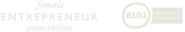 logos female entrepreneur assocoation and b1g1 business for good